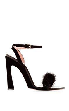 Embellished Mink & Velvet Sandals by Nina Ricci