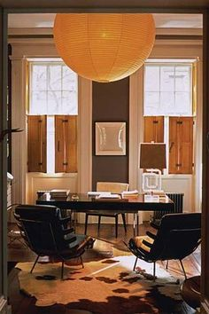 The warm color in this office make it more inviting. Brought to you by Shoplet.com- everything for your business juliann moor, chair, lantern, west village, shutter, world of interiors, hous, home offices, julianne moore