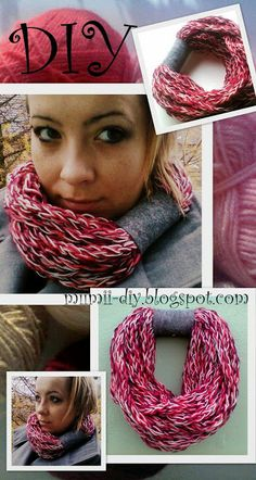 diy knit scarf- how to make a scarf using their own fingers