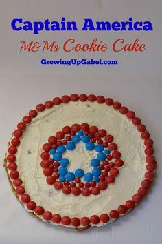 Captain America Cookie Cake from Growing Up Gabel #heroeseatmms #shop