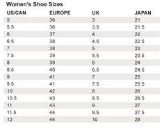 Shoe Sizes For Women