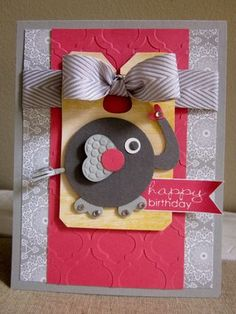 "Darling Embossed Elephant ""Happy Birthday"" Card...by Sandra Conner."