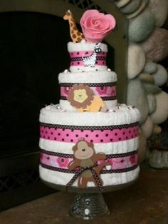 baby towel cake polka dots, baby shower ideas, towel cakes, girl baby showers, theme idea, diaper cakes, baby shower themes, towels, babi shower