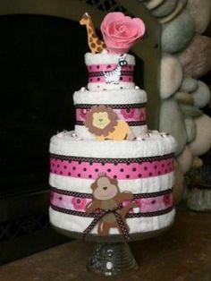polka dots, baby shower ideas, towel cakes, girl baby showers, theme idea, diaper cakes, baby shower themes, towels, babi shower