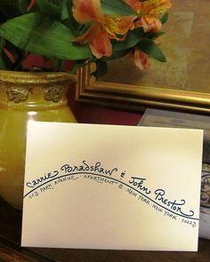 """""""Shoreline"""" writing style.  Wedding Invitation Addressing"""