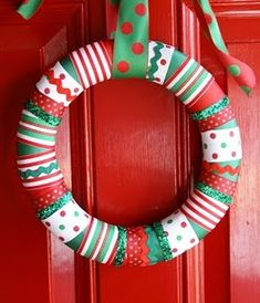 Christmas Ribbon Wreath- making this (: