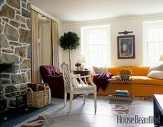 Living Room Decorating Ideas - Living Room Designs - House Beautiful who would have thought orange and purple together!