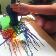Crayons, canvas, blow dryer.