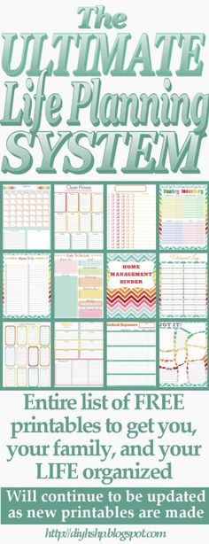 free printable planners, diy planner printables, plan system, ultimate life planning system, party planners, life planner, sweet home, diy home, ultim life