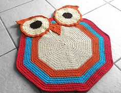 owl accent, libraries, rug patterns, nurseries, crochet anim, owl rugs, crochet owls, handmad rug, accent rug