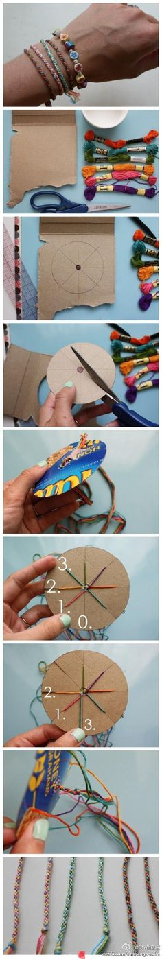 diy bracelet.   Would be fun for kids to make for shoe boxes.