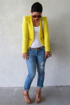"I love her style!!! Camel Michael Kors Pumps, Navy Express Jeans, Yellow Zara Blazers   ""Blazer Is Blazin!"" by mimig - Chictopia"