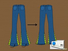 how to make jeans into bell bottoms