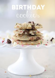 Chocolate chip and sprinkle birthday cookies