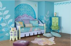 I like the blues & the huge leaves, they could be part of a cool bedroom for any age kid!