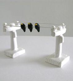 Birds On A Wire Ceramic Art by Pearson-Maron