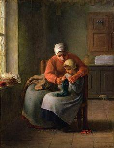 La lección de tricotar, François Millet. (Dominio Público)