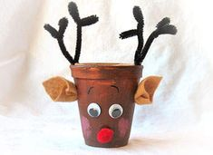 Rudolph Paper cup craft reindeer, kids christmas crafts, clay pot crafts, flower pots, christma craft, christmas ideas, craft ideas, paper cups, clay pots