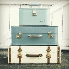 pastel colored suitcases.