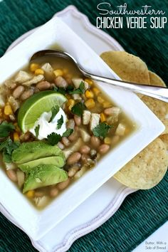 Southwestern Chicken Verde Soup ~~ Butter with a Side of Bread #recipe #soup #chicken