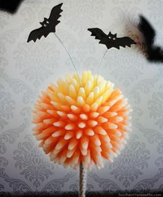 Halloween Starburst Candy Corn Mum Ball Topiary via SouthernYankeeMix.com