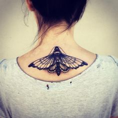 See more Majestic 3D butterfly tattoo on back neck