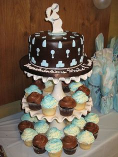 boy baby showers, mommi silhouett, fruit platter, muffin, baby shower themes, shower idea, small cakes, babi shower