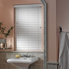 """Wood Alternative 2"""" Textured Faux Wood Blinds #FauxWoodBlinds #Redecorating #Bathroom"""