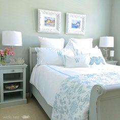 bedroom idea, interior color, guest bedroom, bluegray paint, paint colors, coastal color