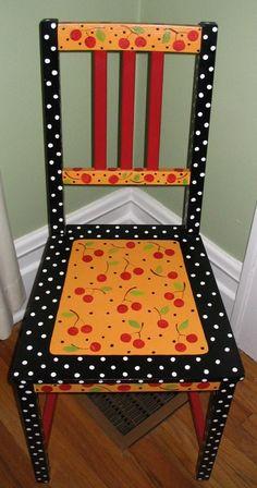 Cherries cherri, wooden chairs, mari engelbreit, paint chair, mary engelbreit, paint furnitur, painted chairs, funky painted furniture, paper patterns