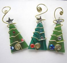 Ice Tree Trio Glass Ornaments Wire Wrapped by glassartelements..