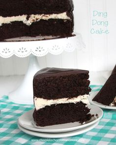 Ding Dong Cake: Rich devil's food cake, a vanilla cream filling and smothered in chocolate ganache!
