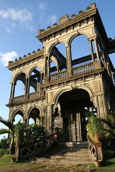 The Ruins at Talisay City, Philippines.  This mansion was built back in the early 1900's by a sugar baron.  This was the largest residential structure ever built at that time. The mansion met its sad fate in World War II when the mansion was burned to prevent the Japanese forces from utilizing it as their headquarters. It took days of inferno to bring down the roof and the 2-inch wooden floors.