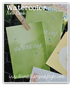 When in need of some simple and quick cards I always turn to WATERCOLOR NOTE CARD KITS which makes creating LOTS of cards in a snap a total breeze! http://www.handstampedstyle.com