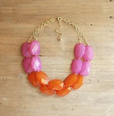 idea, statement necklaces, style, doubl strand, bib necklaces, orang colorblock, jewelri