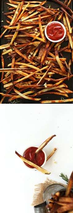 5-ingredient SUPER CRISPY Baked Garlic Matchstick Fries! The trick is in the temperature and slicing method. SO tasty! #vegan #glutenfree