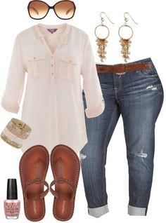 """Boyfriend Jeans  Flip Flops - Plus Size"" by alexawebb ❤ liked on Polyvore"