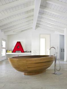 Wooden bathtub!