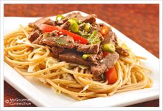 Easy Beef Stir Fry with Noodles from MyGourmetConnection--- An easy beef stir fry with the classic Chinese flavors of garlic, ginger, hoisin and soy sauce