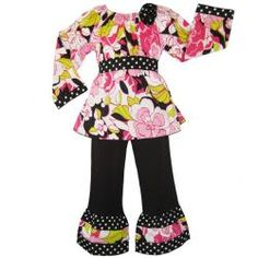 @Overstock.com - A vibrant floral print and black and white polka dot trim accents highlight this adorable outfit from Ann Loren. Constructed of 100-percent cotton, this two-piece set is finished with an easy elastic waistband.http://www.overstock.com/Clothing-Shoes/Ann-Loren-Girls-Floral-Peasant-Top-and-Pant-Set/6023357/product.html?CID=214117 $24.99