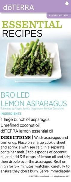 """It's asparagus season! Try it with doTERRA's lemon essential oil for flavoring.  doTERRA's oils are 100% pure, and most of them are very safe to ingest - not to mention healthy for you!  They're wonderful to use in your cooking. www.mydoterra.com/kendrasanders and check out and """"LIKE"""" my facebook page www.facebook.com/DoterraWithKendraSanders food recipes, olive oils, muffin tins, asparagus recipes, breakfast, lemon asparagus, essential oils, essenti oil, health foods"""