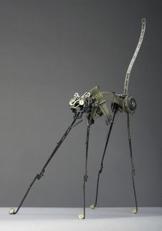 Cat Sculpture Made Using Typewriter Parts by Jeremy Mayer