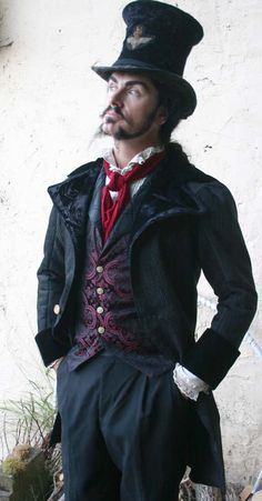 Black Tapestry Cloth and Velvet Steampunk Frock Cutaway Swallowtail Wedding Jacket, Vest, Trousers, Frilly Shirt and Cravat. $650.00, via Etsy.