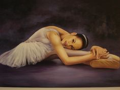 "Beautiful painting of ballerina Misty Copeland by Artist Russell Lamont Howard of Angelmont Galleries entitled Misty ""Trail Blazing Ballerina"" Copeland."