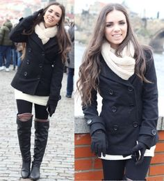 boots with a pea coat = love jacket, knee high boots, thigh highs, winter outfits, knee high socks, coat