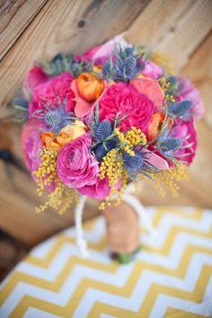bridal bouquets, orang, color combos, color schemes, wedding bouquets, wedding photo shoots, summer weddings, flower, thistl
