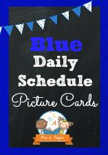 Blue Daily Schedule Picture Cards for Preschool and Kindergarten