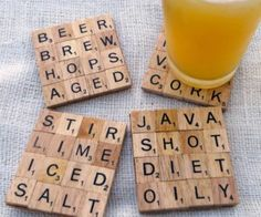 Scrabble tile coasters! {I totally want this!}