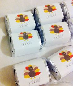Free printable chocolate wrappers--print on Avery address labels and wrap around Hershey nugget chocolate