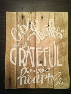 Give Thanks Wooden Sign Decor by LilRedBrickHouse on Etsy, $40.00 autumn, fall, thanksgiving decor